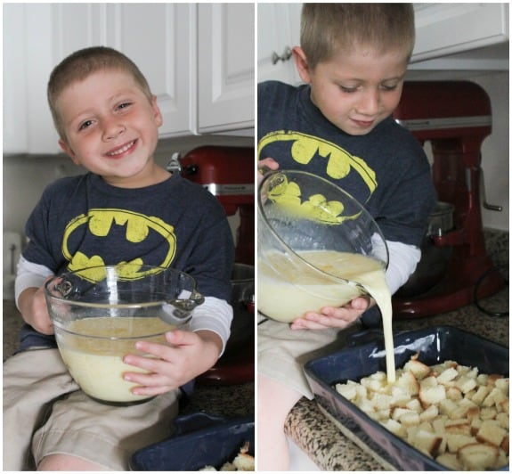 Image of Pouring Pudding Creme Over Bread