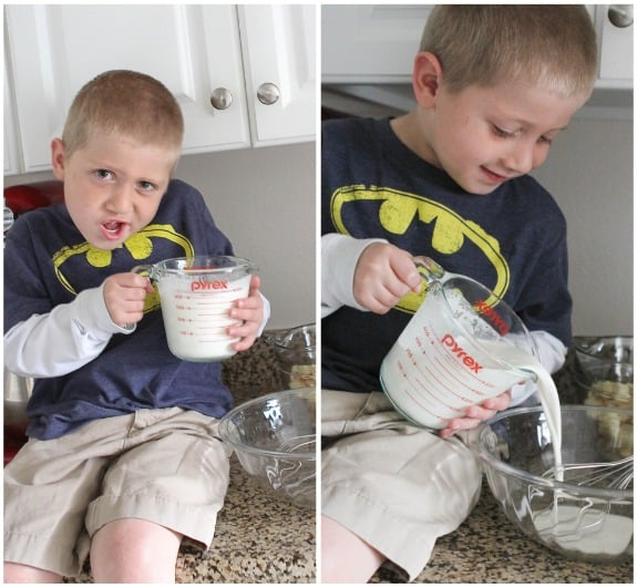 Image of Adding Milk to the Bowl