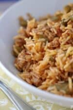 Smoky Turkey and Saffron Red Rice in a bowl
