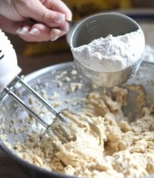 adding dry ingredients to wet