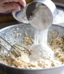 pouring in the flour