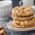 Double White Chocolate and Pretzel Peanut Butter Cookies…with Sea Salt