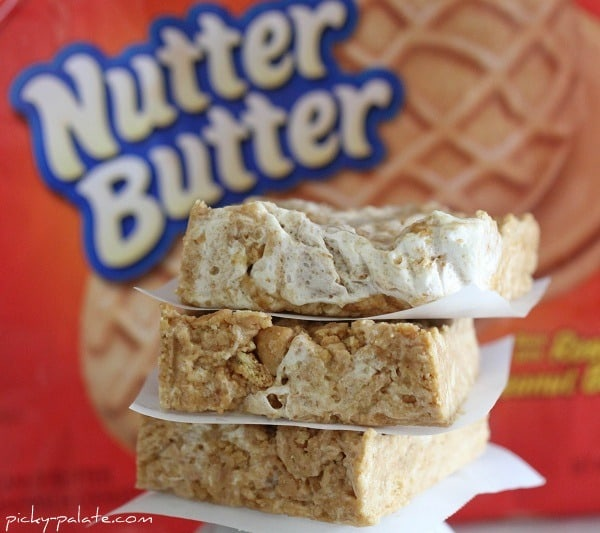 A Stack of Chewy No-Bake Nutter Butter Bars