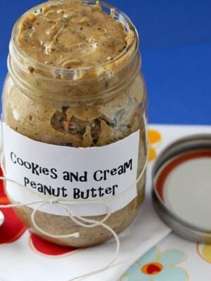 A jar full of Cookies and Cream Peanut Butter.