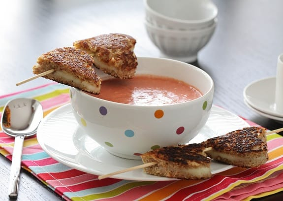 Two Grilled Cheese Kabobs with a Bowl of Tomato Soup