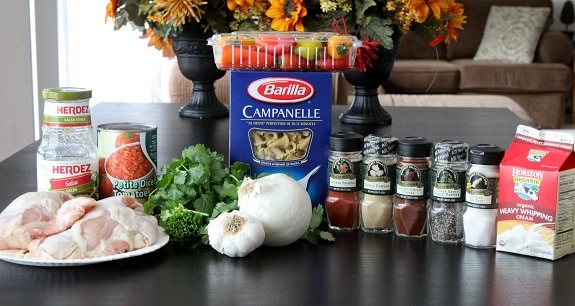 Ingredients for Mexi-Chicken Campanelle Dinner