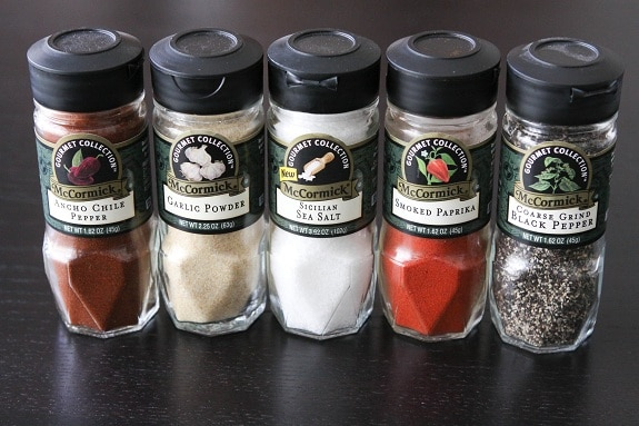 McCormick Chile Pepper, Garlic Powder, Sea Salt, Smoked Paprika & Black Pepper Containers