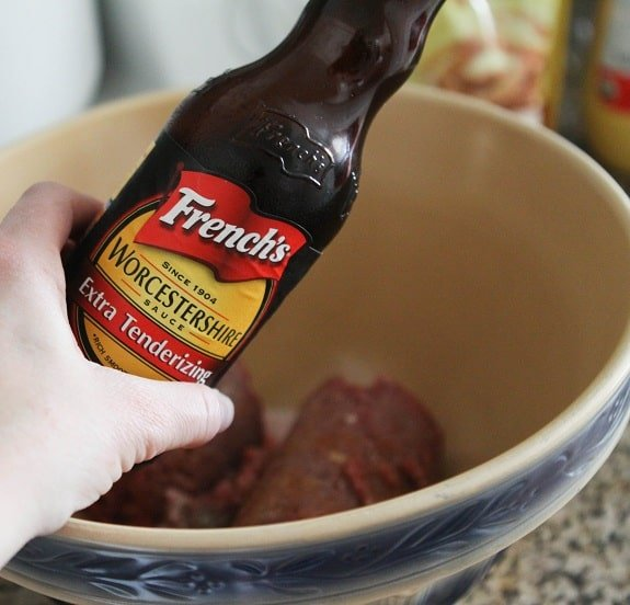 Adding Worcestershire Sauce to the Bowl
