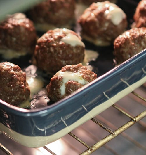 Mozzarella Stuffed Meatballs in the Oven