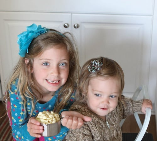 June and Elle Holding the Chocolate Chips