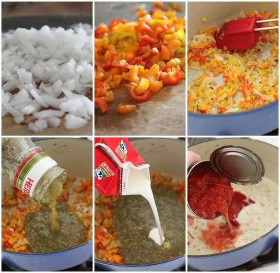 Collage of Steps to Make Creamy Salsa Sauce