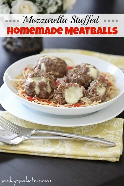 Mozzarella Stuffed Homemade Meatballs by Picky Palate www.picky-palate.com