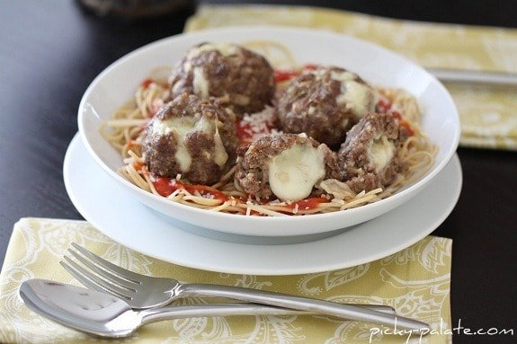 A Bowl of Pasta with Mozzarella Stuffed Meatballs