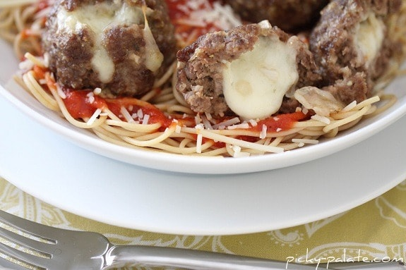 Mozzarella Stuffed Meatballs Leaking Gooey Cheese