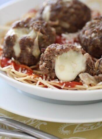 Close-up of Mozzarella Stuffed Meatballs