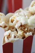 Snickerdoodle Popcorn with White Chocolate Drizzle in a Popcorn Bag