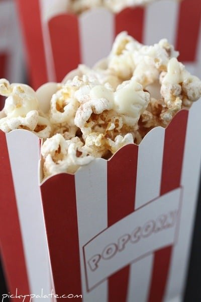 A Bag of Snickerdoodle Popcorn with White Chocolate Drizzle