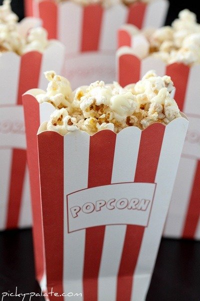 Snickerdoodle Popcorn in a Striped Popcorn Bag