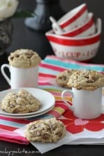 Salted Brown Butter Chocolate Chip Cookies on a Plate, On Top of Two Mugs & on a Napkin