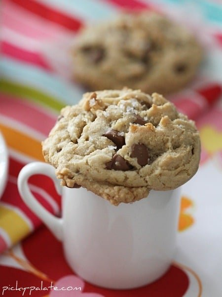 A Brown Butter and Fleur de Sel Chocolate Chip Cookies on a Mug