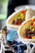 Restaurant Style Carne Asada Soft Tacos with Guacamole and Corn