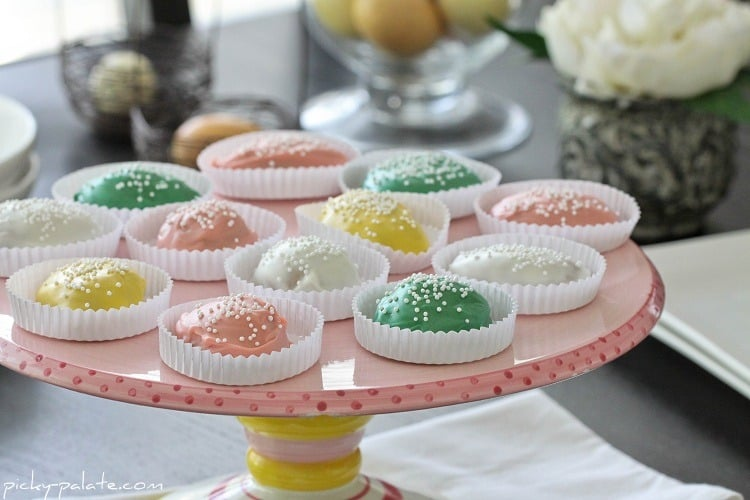 Pink, Green, White & Yellow Chocolate Covered Peanut Butter Eggs