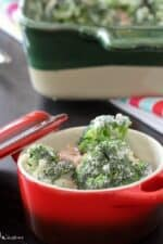 Creamy Bacon and Roasted Red Pepper Broccoli Bake in a Red Dish