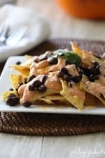 Creamy Salsa and Black Bean Nachos on a Plate