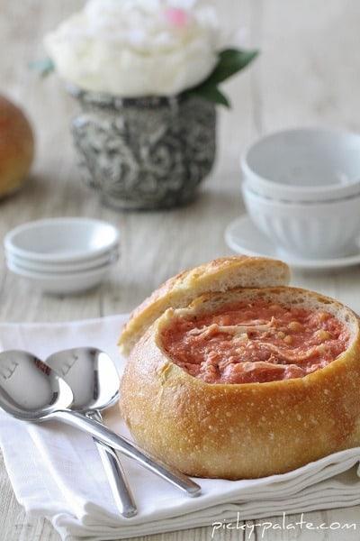 Creamy Tomato, Corn and Chicken Soup in a Bread Bowl