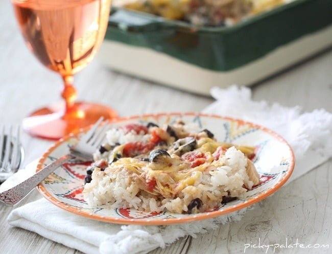 Chicken And Black Bean Green Enchilada Rice Bake Picky Palate