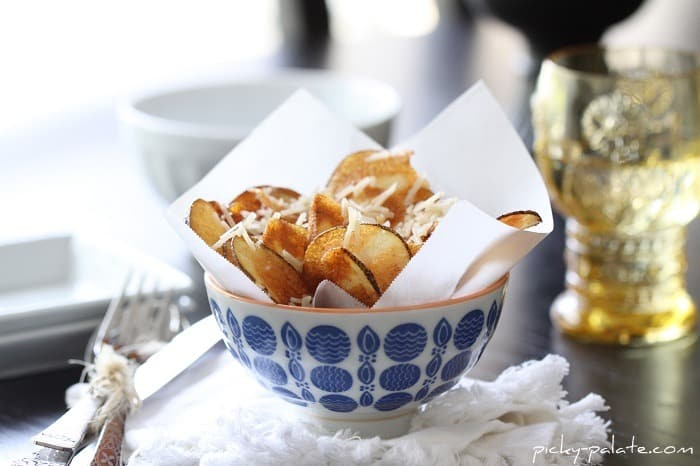 A Small Bowl of Homemade Parmesan Potato Chips