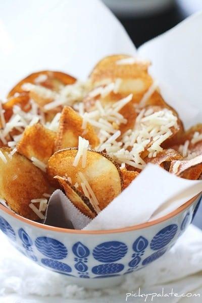 Close-up Shot of Homemade Parmesan Potato Chips