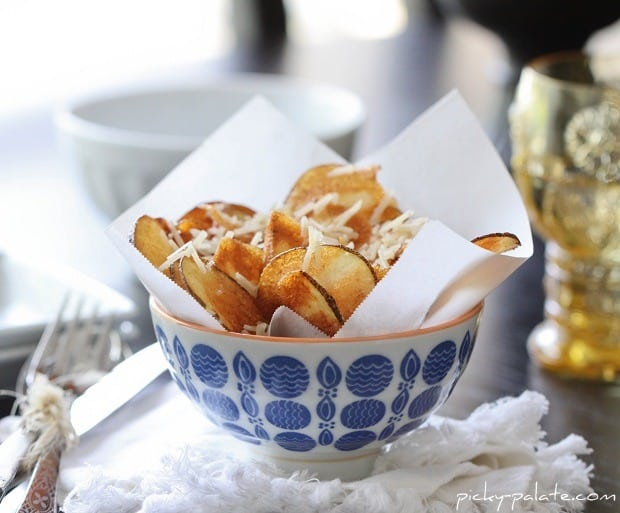 A Bowl Filled with Homemade Parmesan Potato Chips