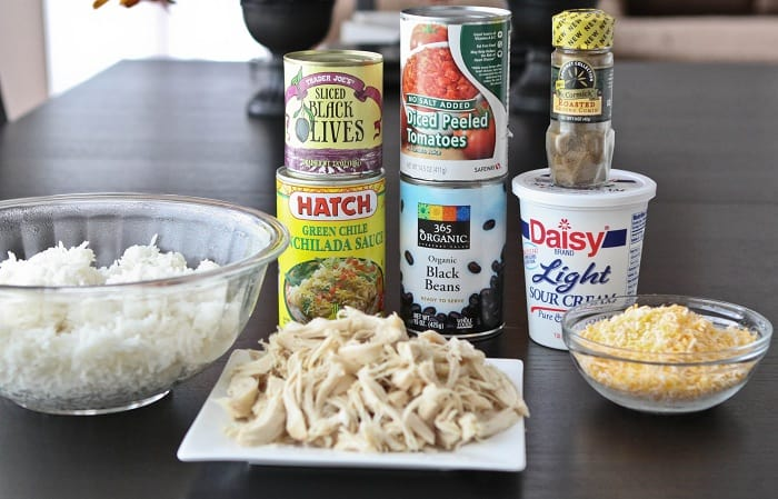 Ingredients You'll Need to Make a Chicken and Black Bean Green Enchilada Rice Bake