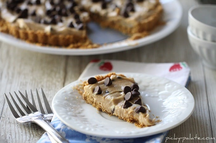 A Slice of Peanut Butter Chocolate Chip Tart on a Plate