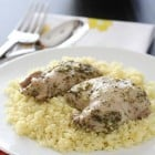 Pesto Chicken Thighs with Italian Creme Sauce Over Parmesan Couscous