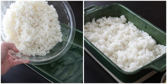 White Rice in a Casserole Dish