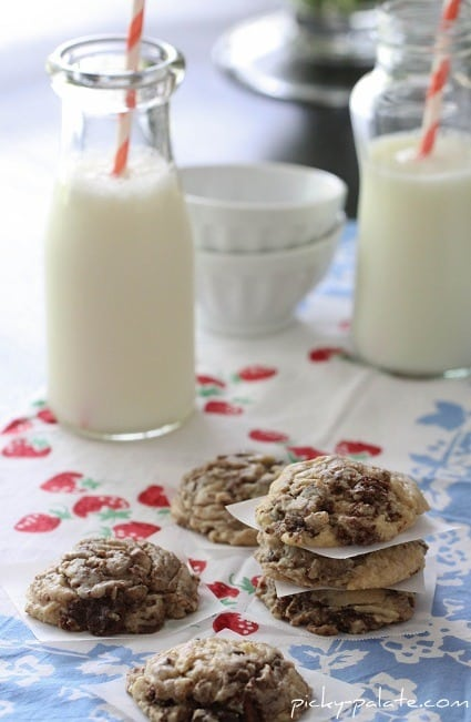 Image of Brownie Chunk Chocolate Chip Cookies with Milk