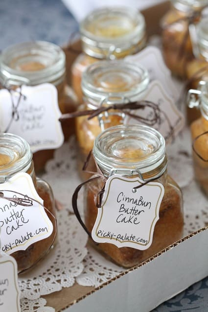A Cardboard Box of Cinna-Bun Butter Cakes in a Jar
