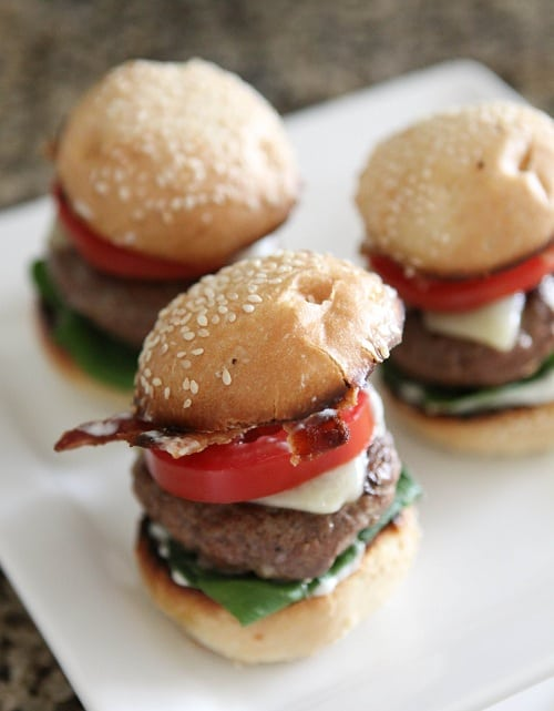 Image of Three Bacon and Ranch Cajun Baby Cheeseburgers