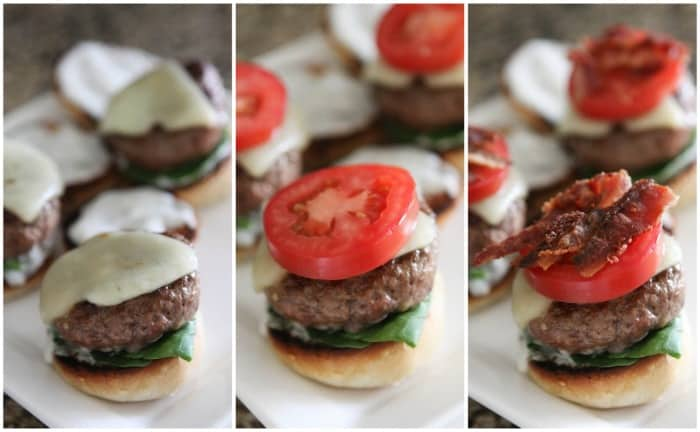 Image of Layering Bacon and Ranch Cajun Baby Cheeseburgers