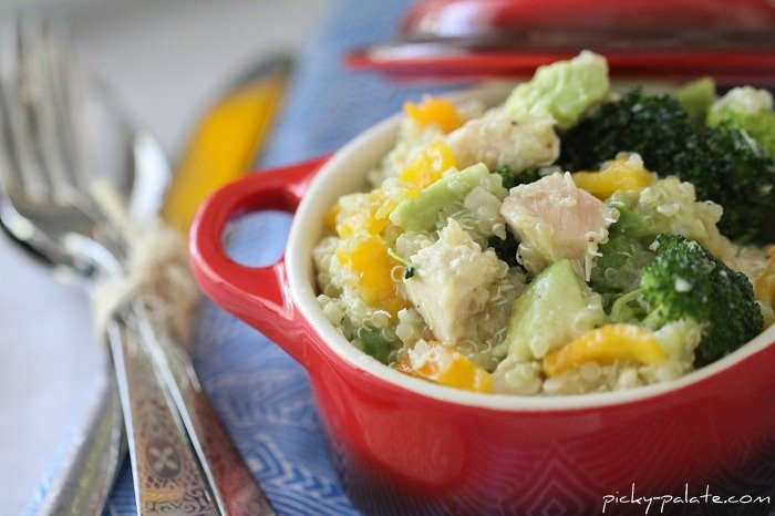 Image of a Chicken and Avocado Quinoa Summer Salad in a Dish