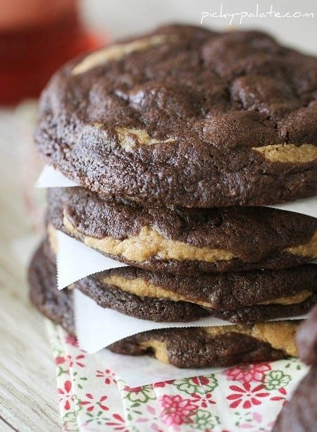 Image of a Stack of Chocolate Fudge Peanut Butter Cookie Stuffed Cookies