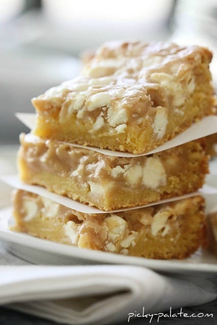 Close-up Image of Gooey White Chocolate Fluffernutter Cake Bars