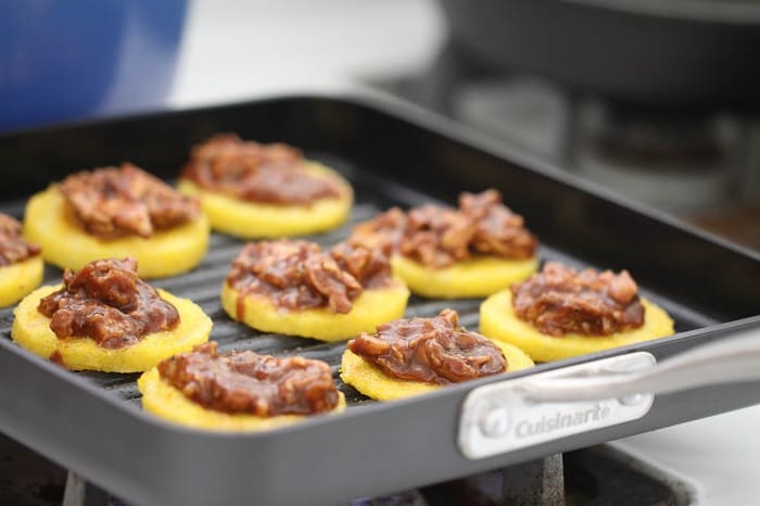 Image of BBQ Chicken Polenta Pizza Cakes on the Grill