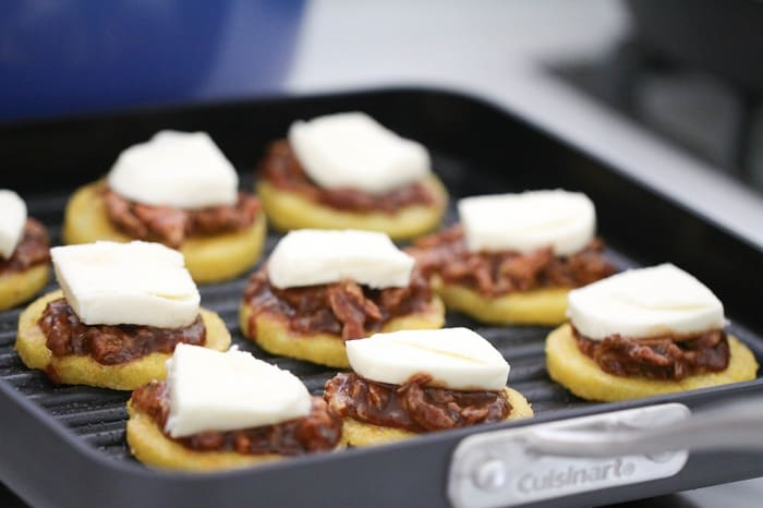Image of BBQ Chicken Polenta Pizza Cakes Grilling