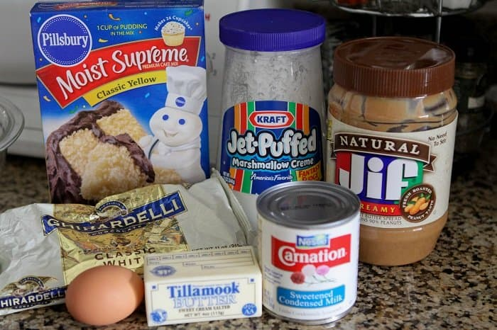 Image of Ingredients for Gooey White Chocolate Fluffernutter Cake Bars