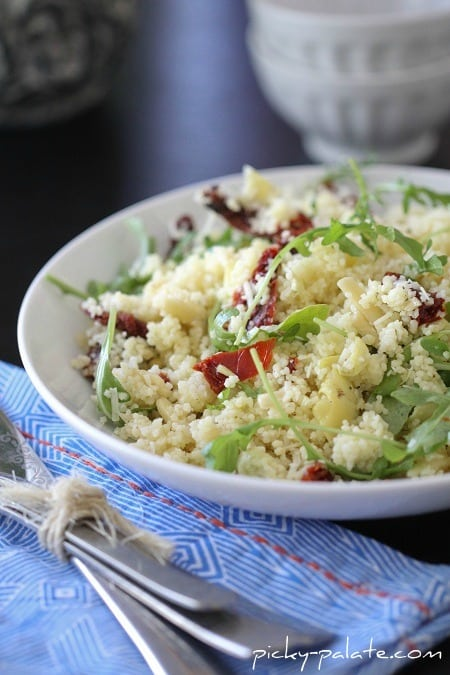 Image of an Almond Artichoke Summer Couscous Salad