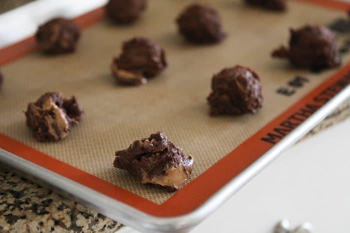 Image of Chocolate Chunk Peanut Butter Swirl Fudge Cookie Dough on a Baking Pan