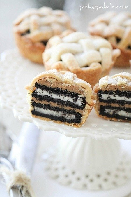 Close-up Image of Mini Oreo & Peanut Butter Lattice Pies